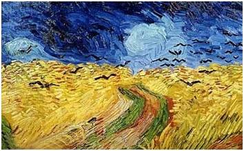 Van Gogh, corvi, campo, grano