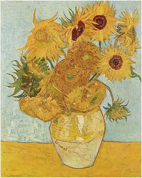 Van Gogh, vaso, girasoli, Arles